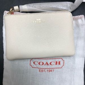 Coach Chalk Crossgrain Leather Wristlet
